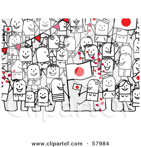 Royalty-Free (RF) Clipart Illustration of a Crowd Of Stick People Characters With A Japan Flag by NL shop