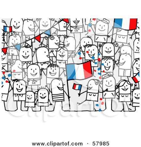 Royalty-Free (RF) Clipart Illustration of a Crowd Of Stick People Characters With A France Flag by NL shop