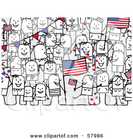 Crowd Of Stick People Characters With An American Flag Posters, Art Prints