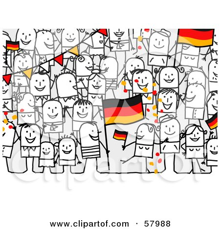 Royalty-Free (RF) Clipart Illustration of a Crowd Of Stick People Characters With A German Flag by NL shop