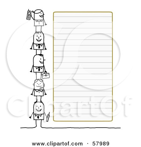 Royalty-Free (RF) Clipart Illustration of Stick People Characters Standing Beside Blank Lined Paper by NL shop