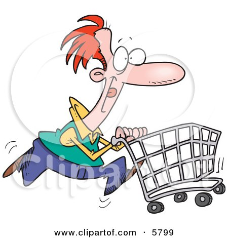 Red Haired Caucasian Man Pushing a Shopping Cart Posters, Art Prints