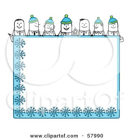 Royalty-Free (RF) Clipart Illustration of Stick People Characters Looking Over A Blank Blue Winter Sign by NL shop