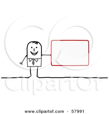 Royalty-Free (RF) Clipart Illustration of a Stick People Character Holding A Blank Red Sign by NL shop