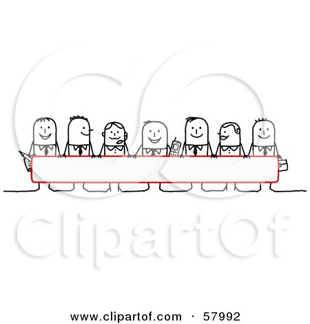 Royalty-Free (RF) Clipart Illustration of Stick People Characters Looking Over A Blank Red Sign by NL shop