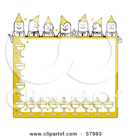 Royalty-Free (RF) Clipart Illustration of Stick People Characters Looking Over A Blank Yellow Party Sign by NL shop