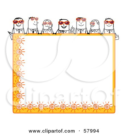 Royalty-Free (RF) Clipart Illustration of Stick People Characters Looking Over A Blank Orange Summer Sign by NL shop