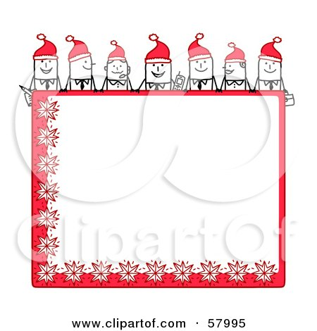 Royalty-Free (RF) Clipart Illustration of Stick People Characters Looking Over A Blank Red Christmas Sign by NL shop