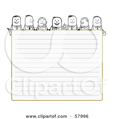Royalty-Free (RF) Clipart Illustration of Stick People Characters Looking Over Blank Lined Paper by NL shop