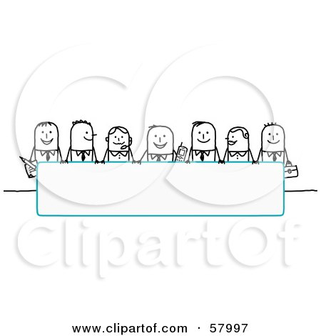 Royalty-Free (RF) Clipart Illustration of Stick People Characters Looking Over A Blank Blue Sign by NL shop