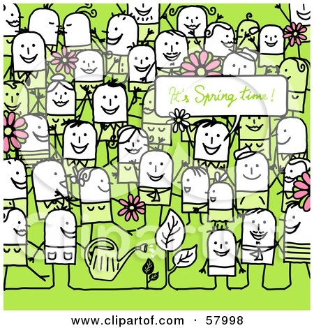 Royalty-Free (RF) Clipart Illustration of a Crowd Of Stick People Characters On Green With An Its Spring Time Greeting by NL shop