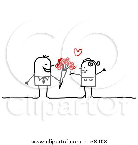 Stick People Character Man Giving His Love Flowers Posters, Art Prints