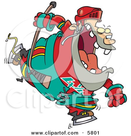 Chubby Hockey Player Man in Uniform Clipart Illustration by toonaday