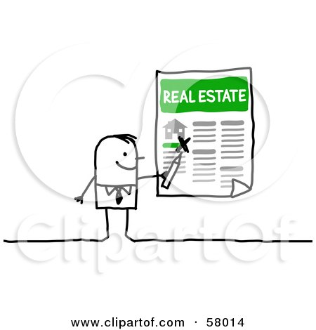 Royalty-Free (RF) Clipart Illustration of a Stick People Character Highlighting A Home For Sale by NL shop