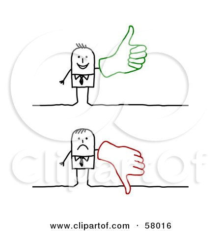 Royalty-Free (RF) Clipart Illustration of a Stick People Character Wearing A Big Glove And Giving The Thumbs Up And The Thumbs Down by NL shop