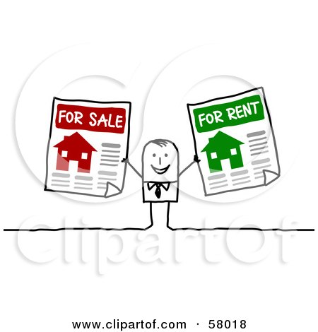 Royalty-Free (RF) Clipart Illustration of a Stick People Character Holding For Sale And For Rent Signs by NL shop