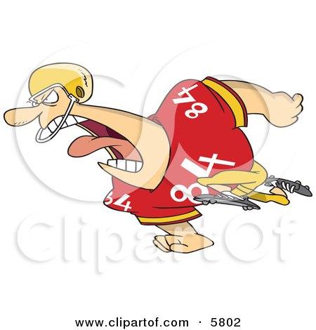 Running Football Player Man In Uniform Clipart Illustration