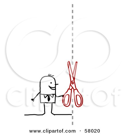 Royalty-Free (RF) Clipart Illustration of a Stick People Character Cutting A Coupon by NL shop