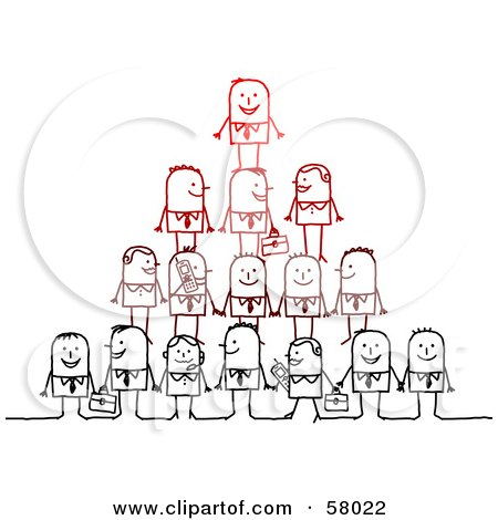 Royalty-Free (RF) Clipart Illustration of a Pyramid Of Stick People Characters With Briefcases And Cell Phones by NL shop