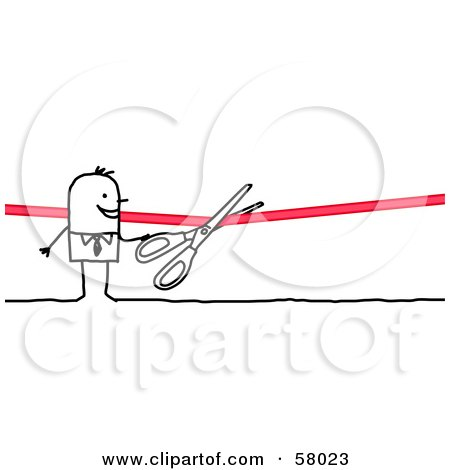 Stick People Character Cutting A Ribbon With Scissors Posters, Art Prints