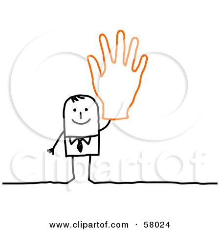 Royalty-Free (RF) Clipart Illustration of a Stick People Character Wearing A Giant Glove And Waving by NL shop