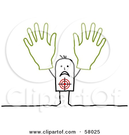 Royalty-Free (RF) Clipart Illustration of a Target On A Stick People Character Holding Two Hands Up by NL shop