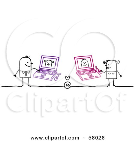 Royalty-Free (RF) Clipart Illustration of a Stick People Character Couple Hooking Up Online, Using Laptops by NL shop