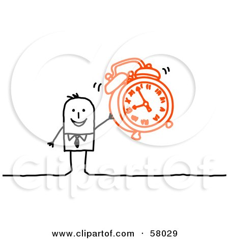 Royalty-Free (RF) Clipart Illustration of a Stick People Character Holding An Alarm Clock by NL shop