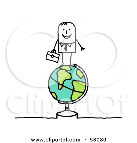 Royalty-Free (RF) Clipart Illustration of a Stick People Character Standing On Top Of A Globe by NL shop