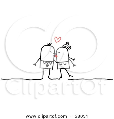 Royalty-Free (RF) Clipart Illustration of a Stick People Character Couple Kissing Under A Heart by NL shop