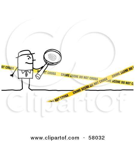 Stick People Character Investigator Inspecting A Crime Scene Posters, Art Prints