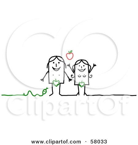 Royalty-Free (RF) Clipart Illustration of Adam And Eve Stick People Characters With An Apple And Snake by NL shop