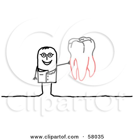 Stick People Character Dentist Holding Up A Tooth Posters, Art Prints