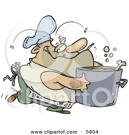 Dirty Chubby and Stinky Male Chef Carrying a Pot Clipart Illustration by toonaday