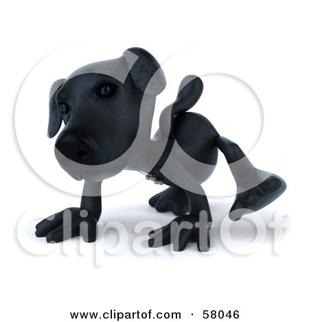 Royalty-Free (RF) Clipart Illustration of a 3d Black Lab Pooch Character Walking Forward On All Four Legs - Version 1 by Julos