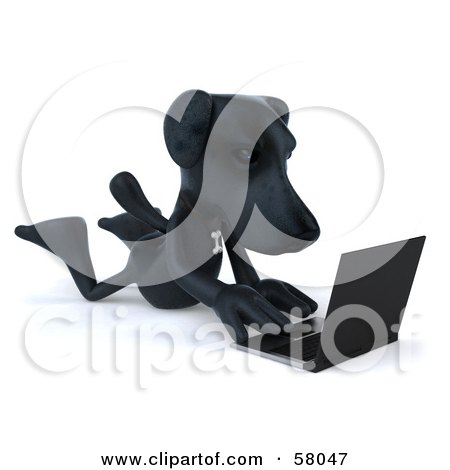 Royalty-Free (RF) Clipart Illustration of a 3d Black Lab Pooch Character Typing On A Laptop by Julos