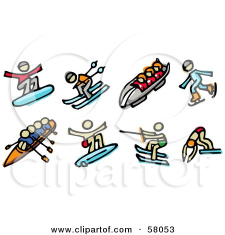 Royalty-Free (RF) Clipart Illustration of a Digital Collage Of Snowboarding, Skiing, Toboggan, Ice Skating, Rowing, Surfing, Water Skiing And Diving by NL shop
