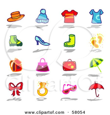 Royalty-Free (RF) Clipart Illustration of a Digital Collage Of Hats, Shirts, Shoes, Bags, And Accessories by NL shop