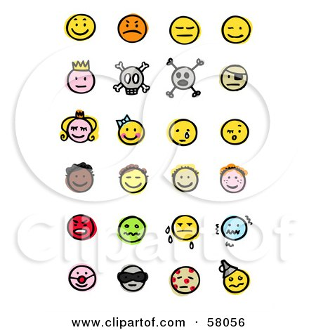 Royalty-Free (RF) Clipart Illustration of a Digital Collage Of Happy, Mad, Depressed, Royal, Skull, Pirate, Children, Crying, Sick And Diverse Emoticons by NL shop