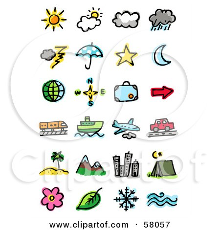 Royalty-Free (RF) Clipart Illustration of a Digital Collage Of Weather, Celestial, Directions, Luggage, Transportation And Travel by NL shop