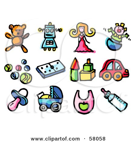 Royalty-Free (RF) Clipart Illustration of a Digital Collage Of A Teddy Bear, Robot, Doll, Clown, Balls, Dominoes, Blocks, Car, Pacifier, Stroller, Bib And Bottle by NL shop