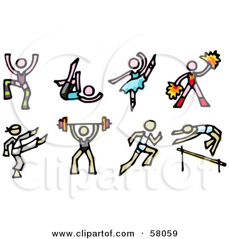 Royalty-Free (RF) Clipart Illustration of a Digital Collage Of Dancers, Cheerleaders, Karate, Weight Lifting And Track And Field by NL shop