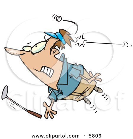 Male Golfer Being Hit by a Golf Ball Clipart Illustration by toonaday