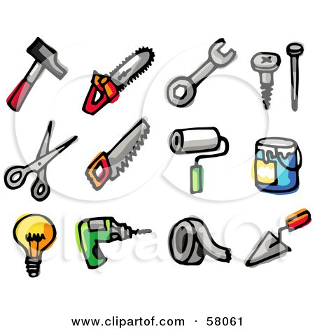 Royalty-Free (RF) Clipart Illustration of a Digital Collage Of A Hammer, Saws, Wrench, Screw, Nail, Scissors, Paintbrush, Paint, Light Bulb, Drill, Tape And Trowel by NL shop