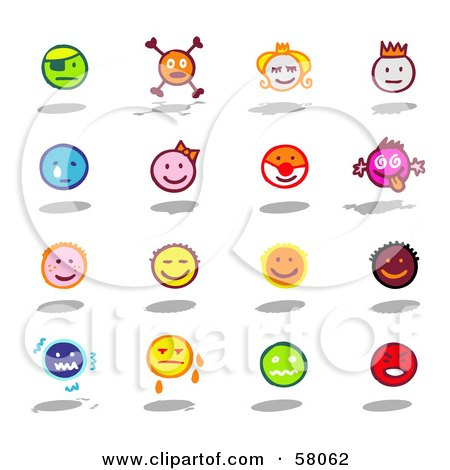 Royalty-Free (RF) Clipart Illustration of a Digital Collage Of Colorful Moody Emoticons by NL shop