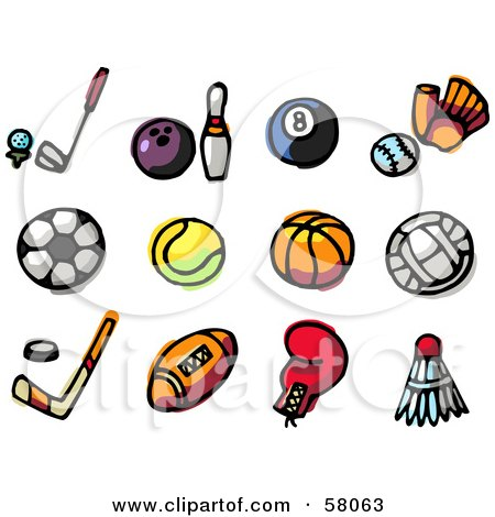 Royalty-Free (RF) Clipart Illustration of a Digital Collage Of Golf, Bowling, Billiards, Baseball, Soccer, Tennis, Basketball, Volleyball, Hockey, Football, Boxing And Badminton by NL shop