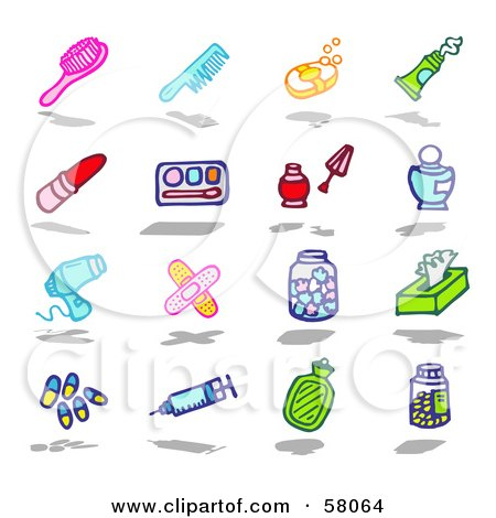 Royalty-Free (RF) Clipart Illustration of a Digital Collage Of A Hair Brush, Comb, Soap, Toothpaste, Lipstick, Eye Shadow, Nail Polish, Perfume, Blow Dryer, Bandages, Tissue, Pills, Syringe, Lotion And Pills by NL shop