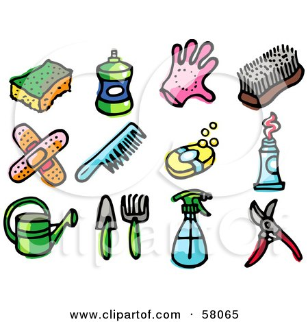 Royalty-Free (RF) Clipart Illustration of a Digital Collage Of A Sponge, Bottle, Glove, Scrub Brush, Bandages, Comb, Soap, Toothpaste, Watering Can, Gardening Tools, Spray Bottle And Pruners by NL shop