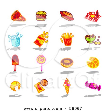 Royalty-Free (RF) Clipart Illustration of a Digital Collage Of Bad Foods by NL shop