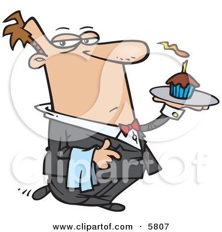 Male Butler Carrying a Cupcake With a Lit Candle on a Tray Clipart Illustration by Ron Leishman